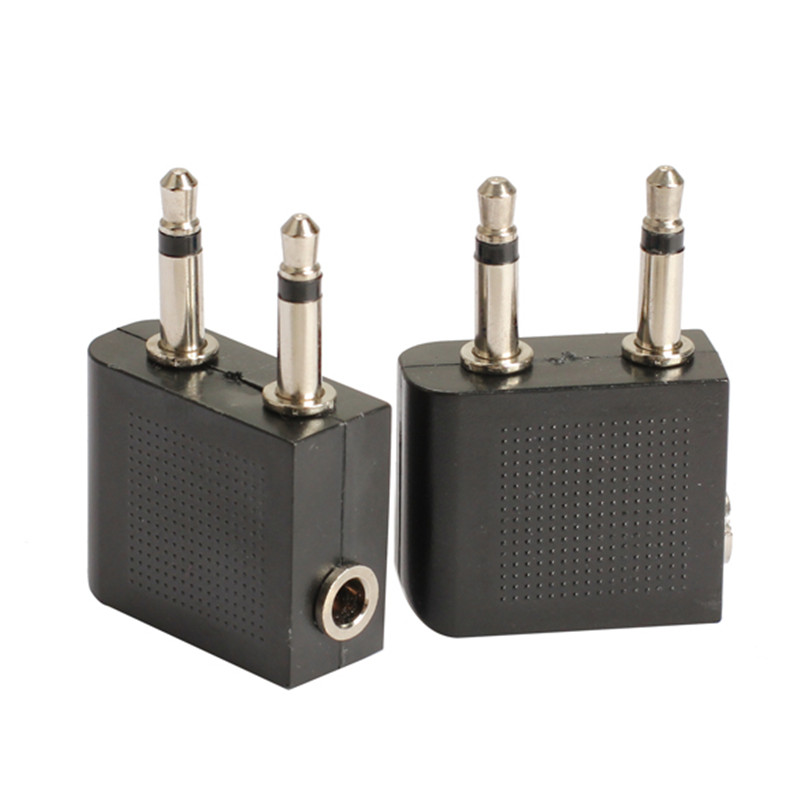 2pcs 3.5 mm to 2 x 3.5 mm Airplane Headphone Audio Jack Plug Adapter GDeals image