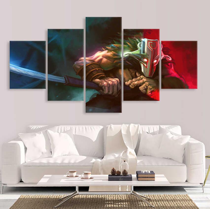 Современные картины на холсте модульная игра плакат 5 шт. 2 DotA Juggernaut Настенный декор домашний декор для мальчиков комната HD печатные картинки художественная работа