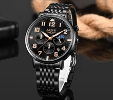 лучшая цена LIGE 2019 Hot Fashion Watch Men Chronograph Sports Casual Quartz Clock Business Mens Watches Waterproof Stainless Steel Watches