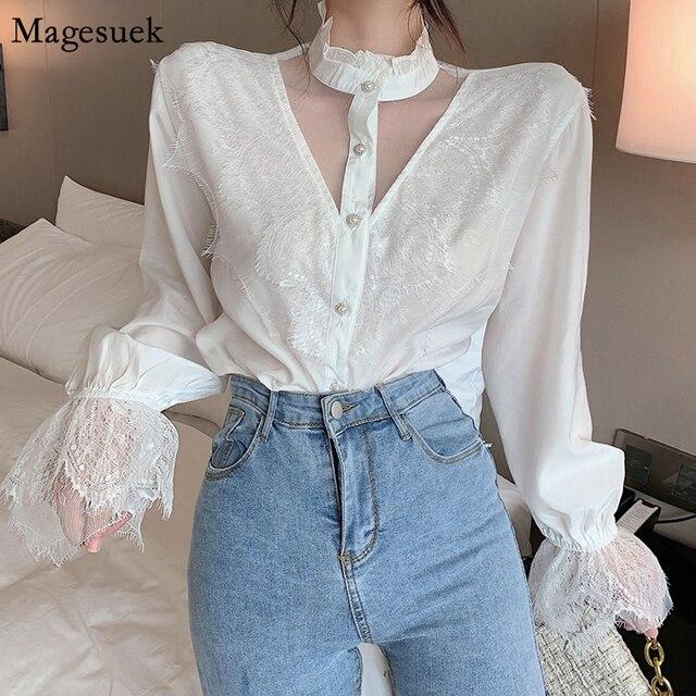 Mesh Vintage White Blouse Women 2020 Female Tops Korean Fashion Lantern Sleeve Lace Black Shirt Elegant 2020 Loose Blusas 11536 1