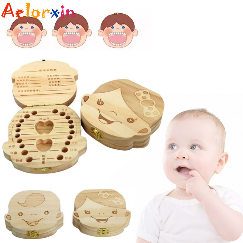 Birthday Gift English/Spanish/French/Russian/Italian Tooth Baby Box Wooden Milk Teeth Box In Spanish In-english Box For Baby