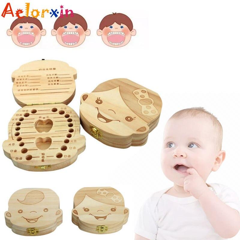 Birthday Gift English/Spanish/French/Russian/Italian Tooth Baby Box Wooden Milk Teeth Box In Spanish In-english Box For Baby