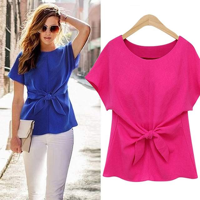 2020 Women Summer Short Sleeve Bow Knot Chiffon Blouse Shirt Ladies Casual Top Tee Shirt 2