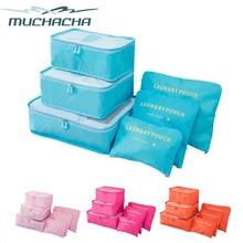 Muchacha 6 Pcs Storage Bag Set Waterproof Clothes Underwear Organizer Pouch Portable Suitcase Divider Storage Pouch Bag