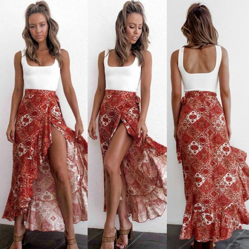 US Women Fashion Boho Long Midi Ruffles Skirt Lace Up Ladies Print Elegant High Waist Bandage Slit Skirts New