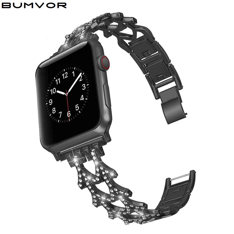 Rose Gold Stainless Steel Strap For Apple Watch Band Rhinestone Diamond Band 38mm 42mm Series For Apple Watch 40mm 44mm Series 5 Watchbands Aliexpress