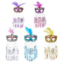 helloween mask masque carnaval Rose Women's Brilliant Masquerade Mask Oriental Fluffy Feather Venetian Mask sexy mask funny mask(China)