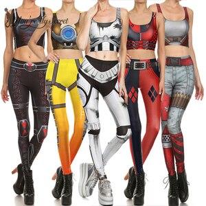 Image 1 - [Sie sind Mein Geheimnis] 2019 Star Superhero Cosplay Kostüm Für Frauen Wonder Captain America Deadpool Frau Croped Tops leggings Sets