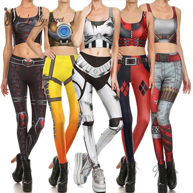 [Sie sind Mein Geheimnis] 2019 Star Superhero Cosplay Kostüm Für Frauen Wonder Captain America Deadpool Frau Croped Tops leggings Sets