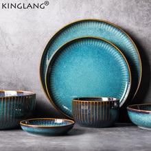 KINGLANG Nordic Style Kiln Glazed Ceramic Rice Salad Bowl Soup Bowl Round Dish Dinner Plate Tableware