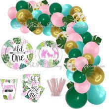 Pink Wild One Birthday Party Balloons Decorations Jungle Safari Animal Birthday Tableware Set Girls First 1st Birthday Party