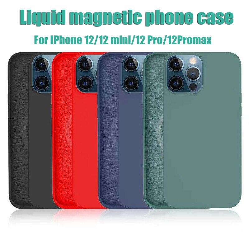 Custodia protettiva magnetica magnetica originale in Silicone liquido per IPhone 12 Pro Max Mini Magsafe custodia protettiva antiurto per la schiena