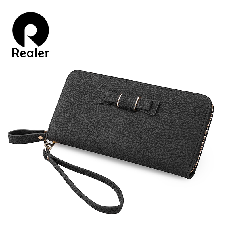 REALER women wallet long high quality female clutch zipper wallets big capacity purse cellphone bag pocket 2020