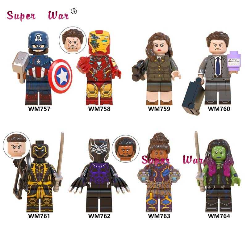 เดี่ยว Avengers Endgame Captain America Iron Man Howard Carter Black Panther Shuri Gamora hawkeye อาคารบล็อกของเล่นเด็ก