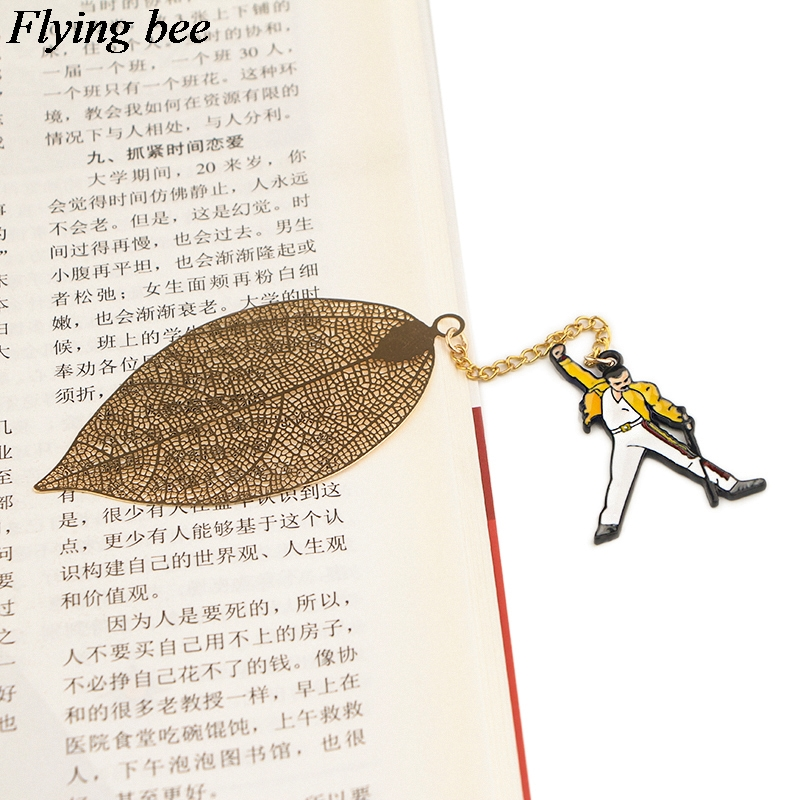 20pcs/lot Flyingbee Leave Pendant Famous Rock Singer  Metal Bookmarks Book Markers Page Holder For Books Stationery Gifts X0777