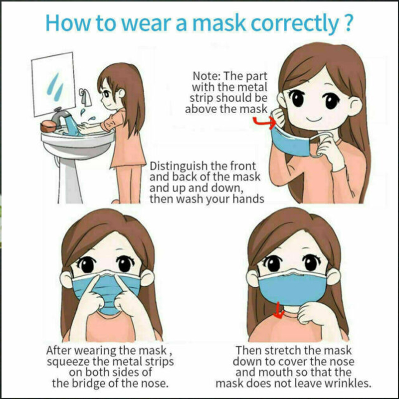 50pcs Disposable Coronavirus Anti Facial Corona Dental air pollution Virus Filter Dust Masks Black Kids Mouth Face Mask 16