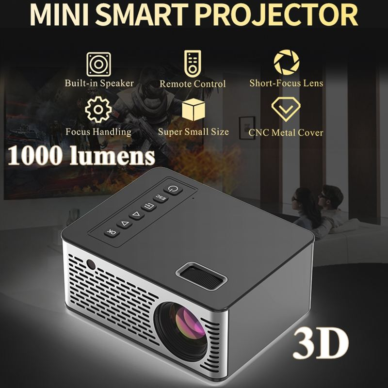 2019 Newest Mini Projector 1280*720P Support 4K Videos Via HDMI Home Cinema Movie LED Projector Portable Projector Video