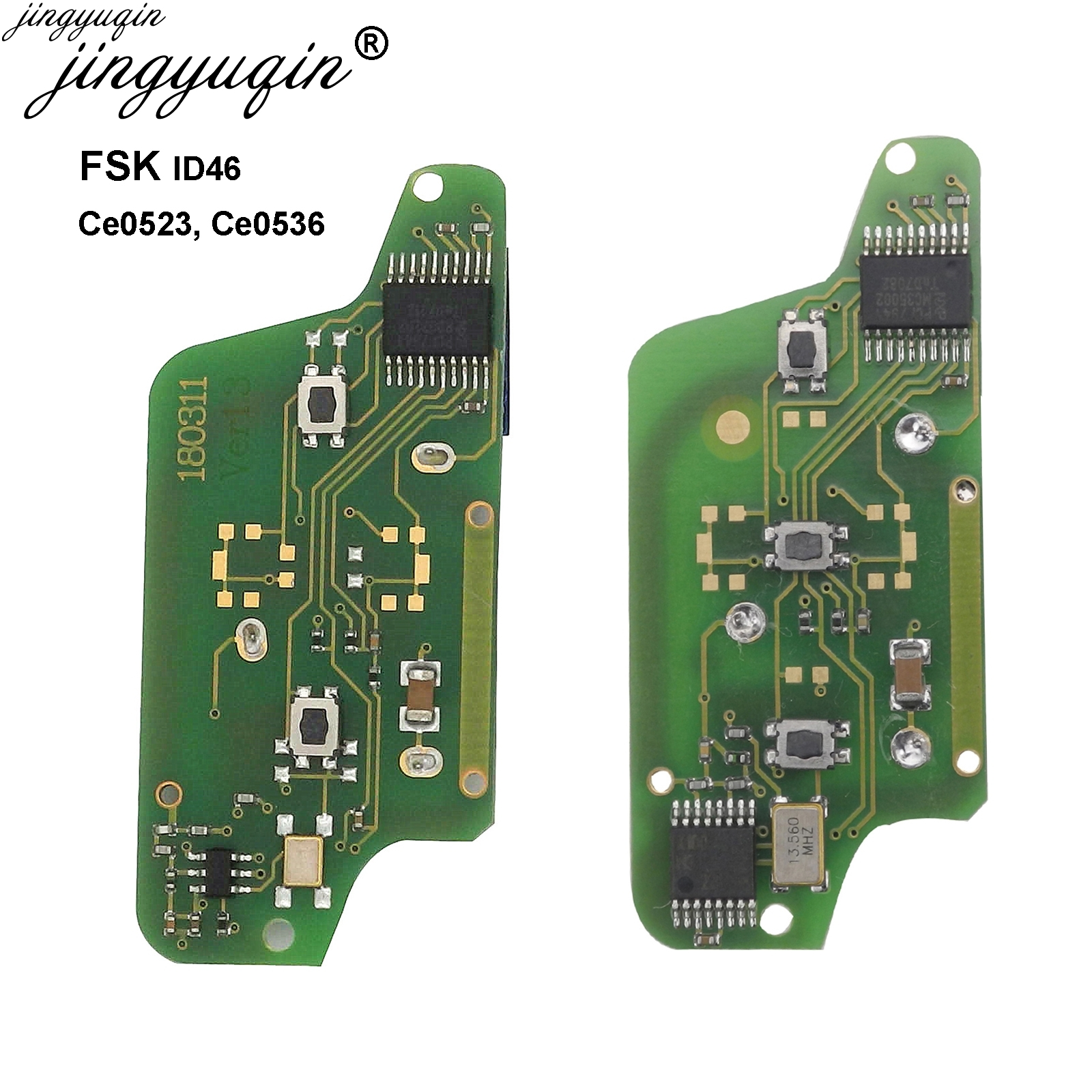 Jingyuqin FSK 434MHz For <font><b>Peugeot</b></font> 207 <font><b>208</b></font> 307 308 408 For Cirtroen C2 C3 C4 Picasso With ID46 PCF7961-ce0536, PCF7941-ce0523 image