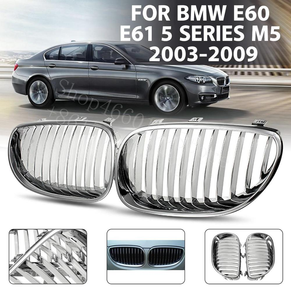 Puou high quality 2PCS Car Front Kidney Grill Grille For <font><b>BMW</b></font> E60 <font><b>E61</b></font> 5 Series 2003-09 M5 Racing Grills image