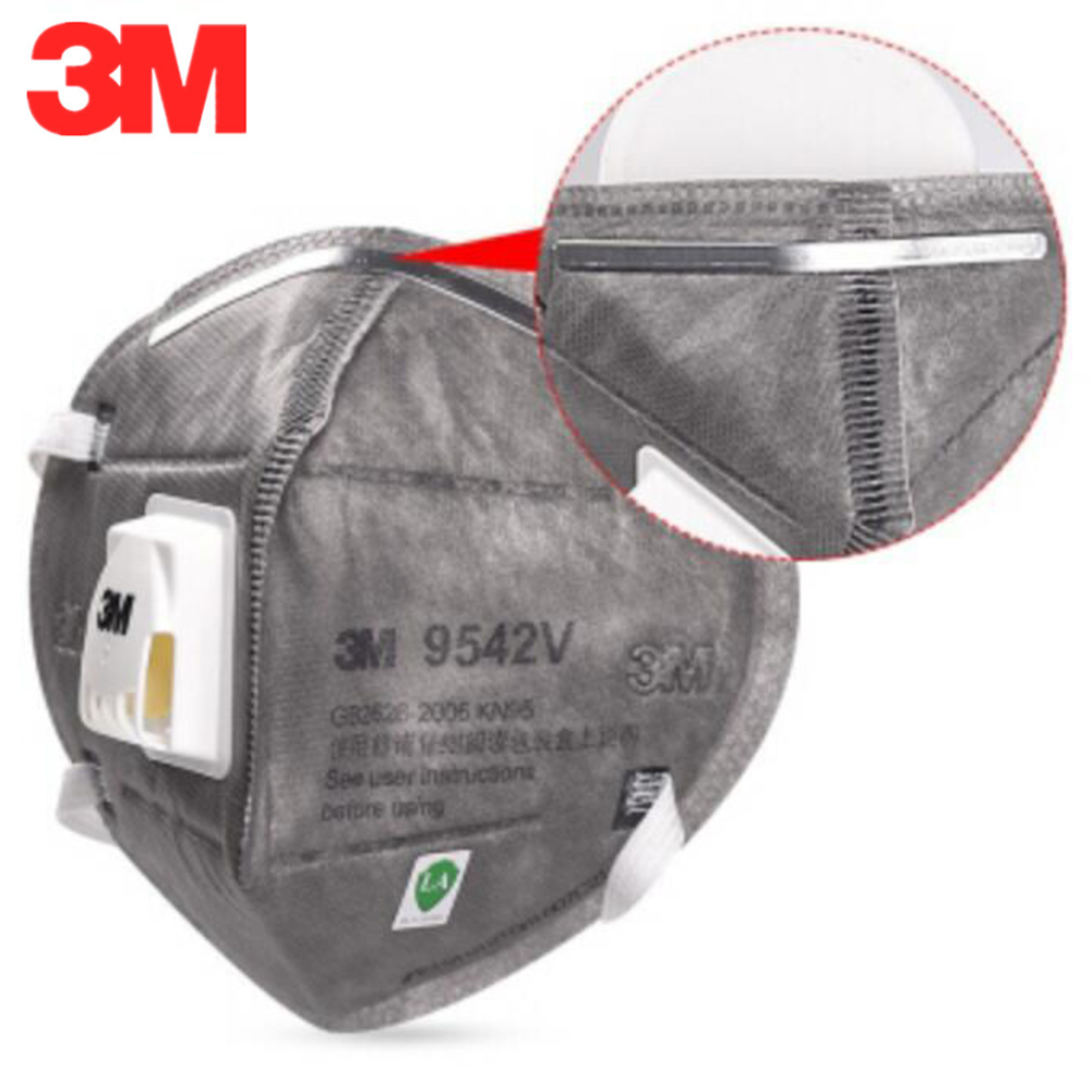 10PCS 3M 9542V Particulate Respirator With Valve Actived Carbon Mask Protective Masks Safety Mask Anti-dust Fog Face Mouth Mask