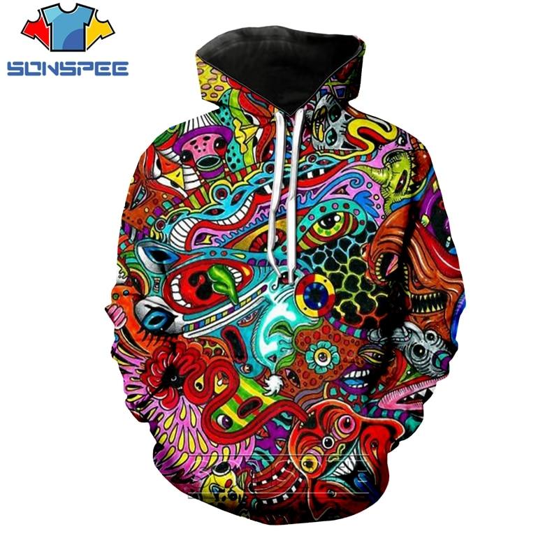 SONSPEE 3D Print Men Women Long Sleeve Geometric Psychedelic Hoodies Casual Plus Size Pullover Tops Cartoon Lion Sweatshirt