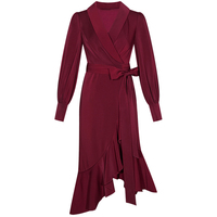 HUAYIMENGYI New Solid Red/Pink Wrap Dress Lacing up Waist Split Slim Fit Women Long Sleeve Tea Dresses Bow Tide Vestido Party