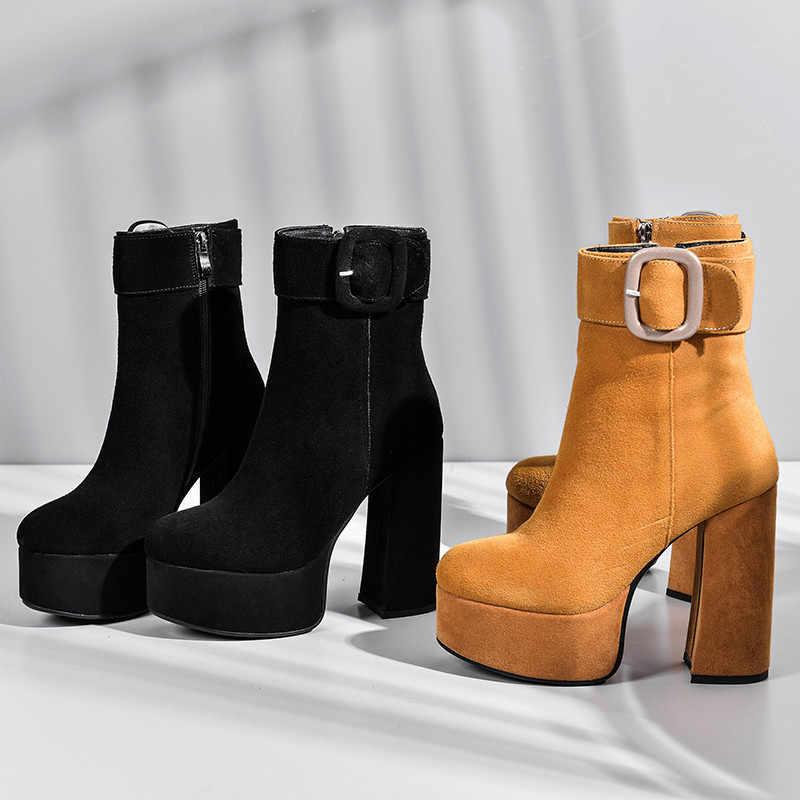 MORAZORA 2020 yeni varış kadın yarım çizmeler süet deri yüksek topuklu platform çizmeler toka zip sonbahar parti düğün ayakkabı kadın