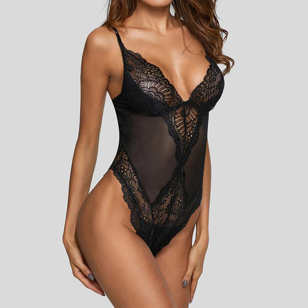Women's <font><b>Sexy</b></font> Floral Lace Sleepwear <font><b>Push</b></font> <font><b>Up</b></font> Bra Mesh One Piece Transparent Erotic <font><b>Lingerie</b></font> Bikini Soft Underwear image