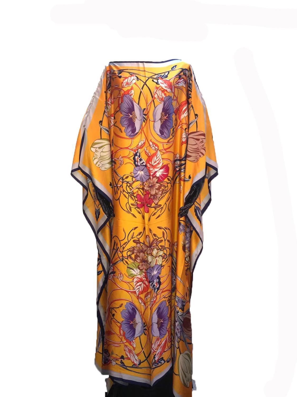 Unique European Printed Silk KAftan Dresses Length 132 Cm X Bustline 132 Cm  Beach Dresses Dashiki African Dresses For Women