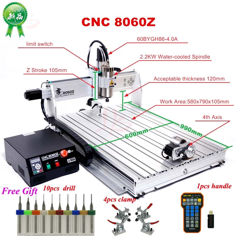 8060Z CNC Engraving Machine 2.2KW With Cooling Spindle For Wood Aluminum Work CNC Router