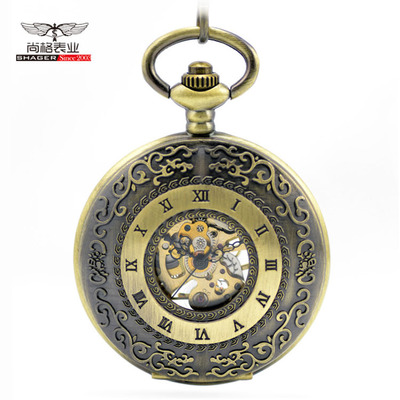Vintage Bronze Mechanical Pocket Watch Mens Classic Elegant Hollow Skeleton Hand Wind Retro Male Clock Pendant FOB Chain Watches