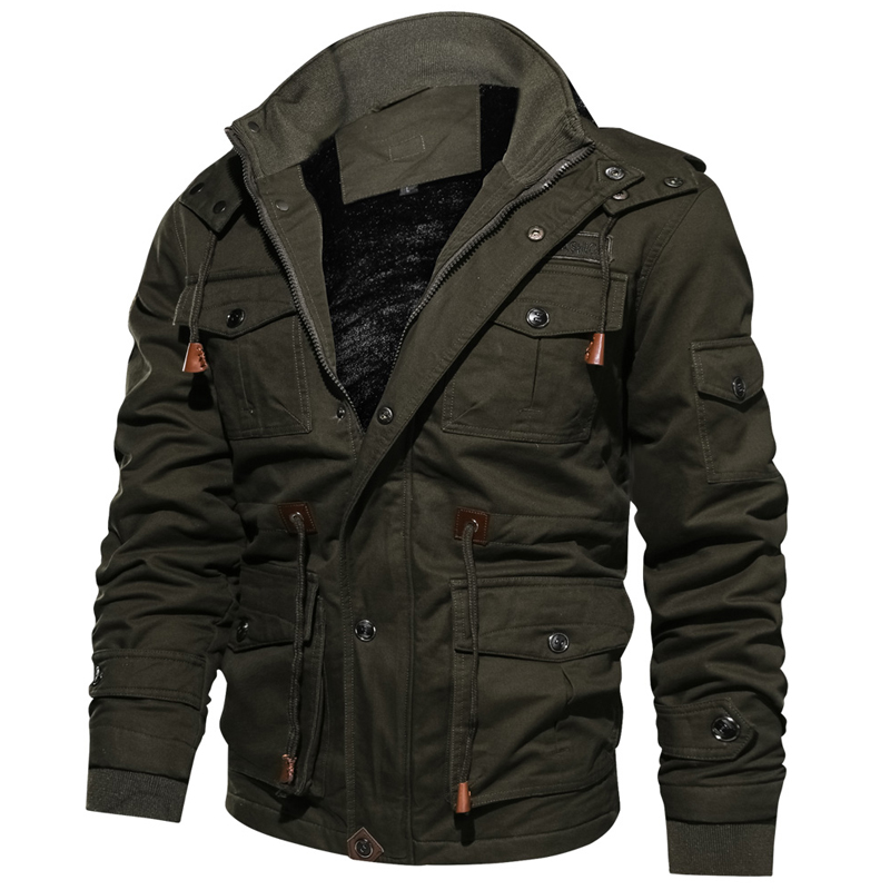 Новинка 2019, зимняя куртка для мужчин, повседневное плотное тепловое пальто, армейская куртка пилота, куртки ВВС, куртка карго, верхняя одежда, флисовая куртка с капюшоном, одежда 4XL - 5