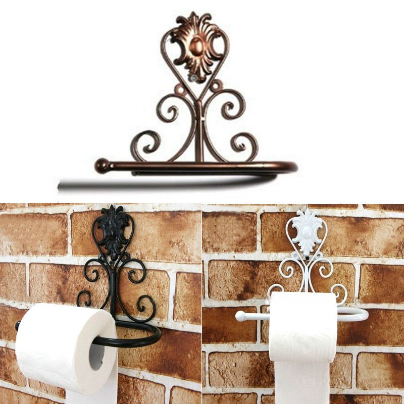 Iron Towel Paper Mount Holder Classic Bathroom Accessories  Vintage Toilet Roll Bathroom Wall Rack