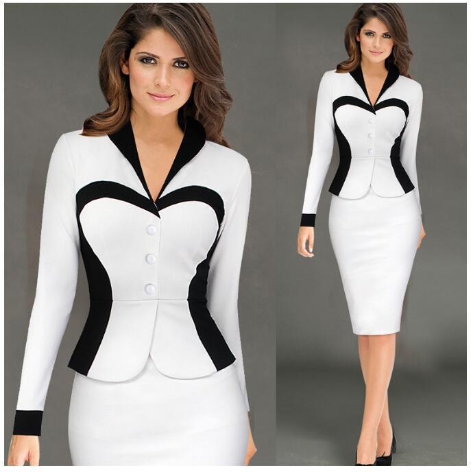 Formal Dress Suits Ladies Office Wear Work Long Sleeve Vintage Design Elegant Dresses Blazer Tops Pencil Dress 2019 2 Piece Sets