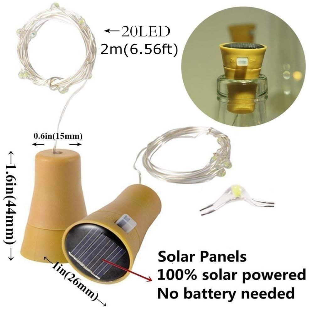 cheapest 2M 20LED Solar Powered Wine Bottle Cork Shaped LED Copper Wire String Outdoor Light Garland Lights Festival Outdoor Fairy Light