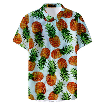 2020 Summer Tropical Fruit Pattern Pineapple Print Shirt Hawaiian Vacation Style Casual Men's Tops Short Sleeve Lapel Blouse цена 2017