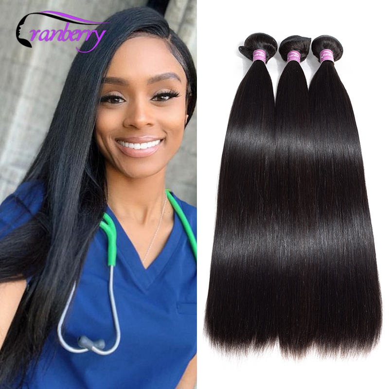 Cranberry Hair 3 Bundles Deal Peruvian Hair Straight Hair Bundles Natural Black Hair Extensions 100% Remy Human Hair Bundles
