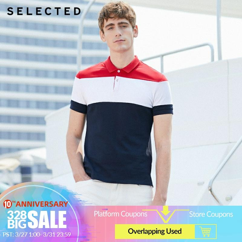 SELECTED Men Summer Contrasting Turn-down Collar Short-sleeved Poloshirt S|419206553