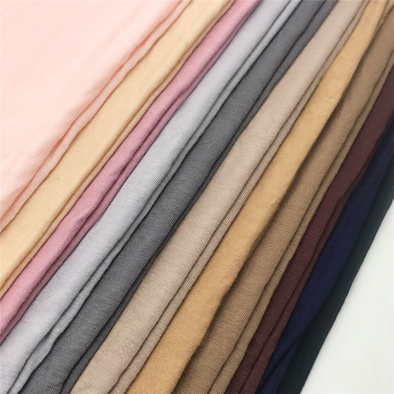 2019 muslim stretchy jersey scarf cotton hijab turbante islamic headscarf foulard femme soft shawl arab wrap head scarves in Islamic Clothing from Novelty Special Use