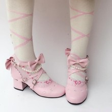 Women Shoes Japanese Cosplay Round-Head Vintage Cute Lace Bowknot Sweet Student Comfortable