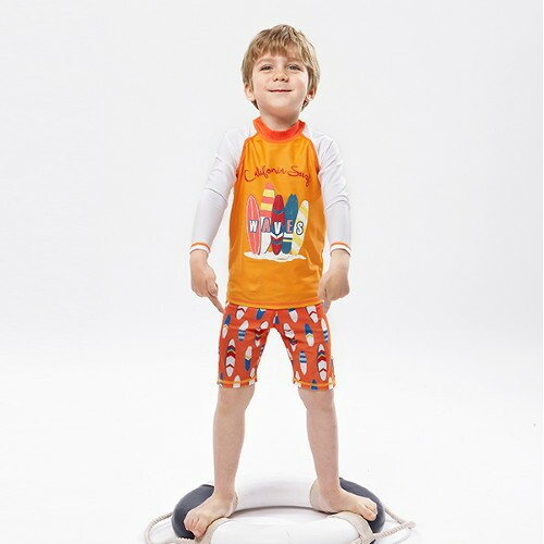 Children New Style Bathing Suit Split Swimwear Baby Men's Big Boy Beach Quick-Dry Diving Suit Long Sleeve Sun-resistant