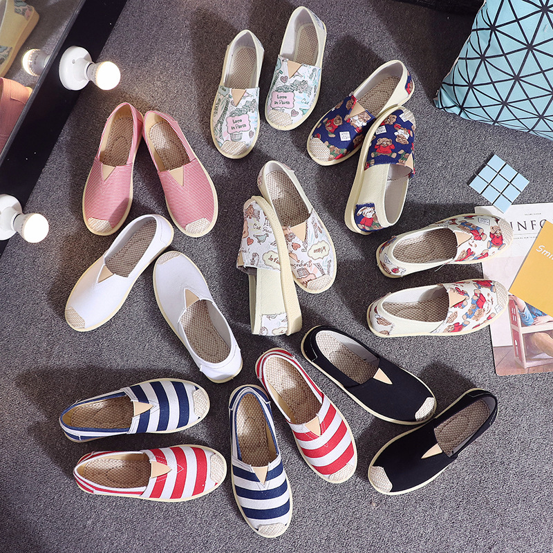 Hot Selling 2020 Spring New Style Shoes Female Cloth Shoes Loafers Wholesale Women's Moccosins Canvas Women Shoes Flat
