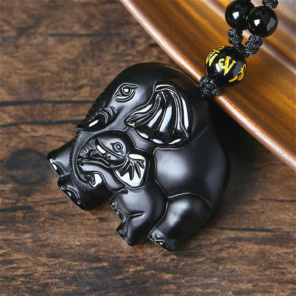 Natural Black Obsidian Elephant Pendant Beads Necklace Fashion Charm Jewellery Hand-Carved Amulet Gifts For Her Women Men