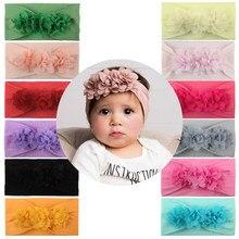 Novo bebê elástico bandana turbante verão bonito chiffon flor faixas de cabelo para o bebê meninas crianças da criança acessórios para o cabelo presentes adereços