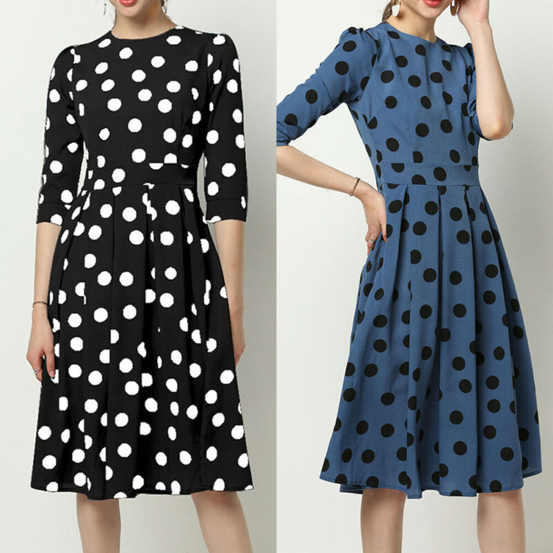 New Arrival Women Round Neck Fit Slim Dress Dot Office Midi Dress Party  Mid-Sleeve Wave Dot A-Line Skirt