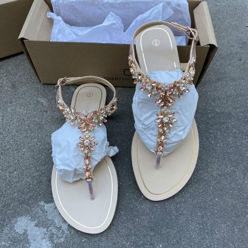 High Quality Shiny Diamond Buckle Flat Bottom Large Size 36-42 Women Sandals Gladiator Female Summer Shoes Black Gold Footwear