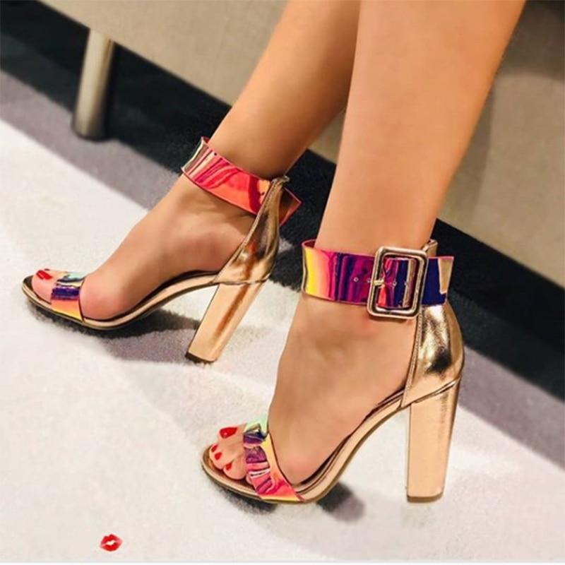 2019 femmes été plate-forme or 11.5cm talons hauts paillettes bloc talons arc-en-ciel sandales dame Chunky pompes femme sandales chaussures