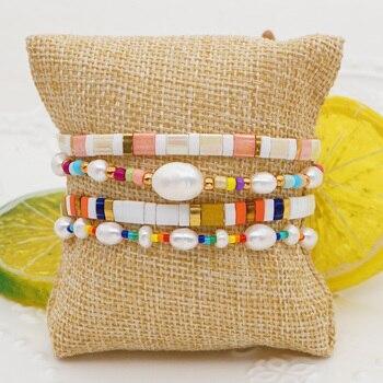 Go2Boho 2020 nueva moda pulsera para mujeres Boho arco iris de agua dulce Pulseras de mujer Miyuki Tila Pulseras de regalo