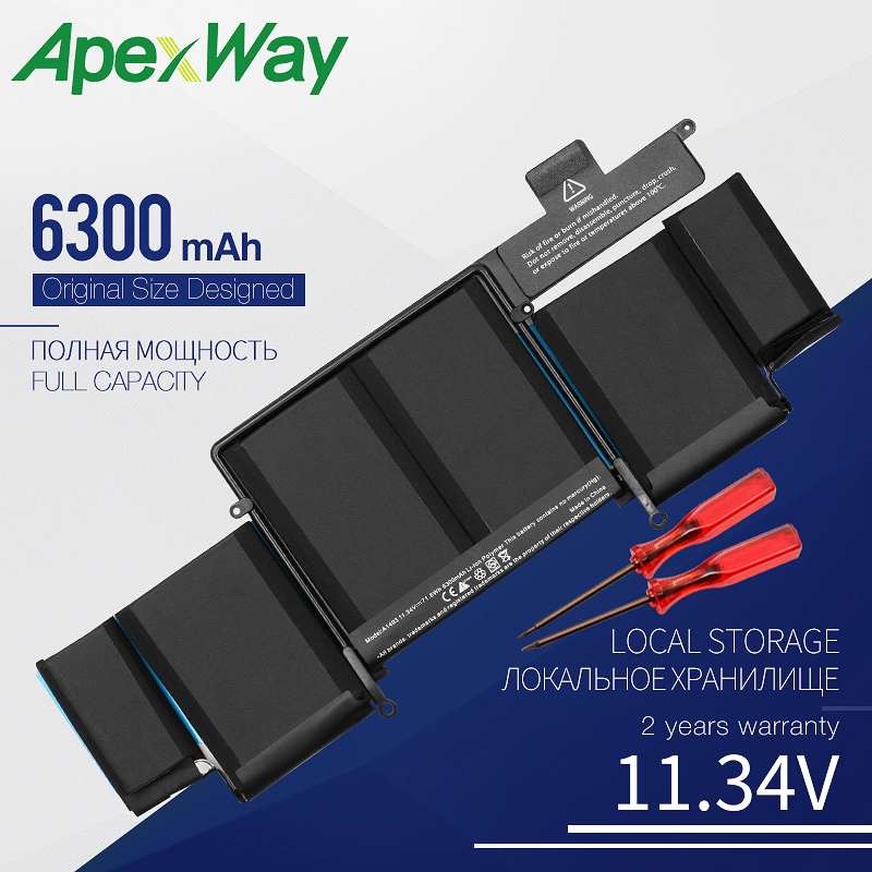 Apexway 11.34V 6300 MAh Laptop Battery FOR Apple Macbook Pro Retina13-INCH A1502 (2013 2014 Year) A1493 Screwdriver Battery