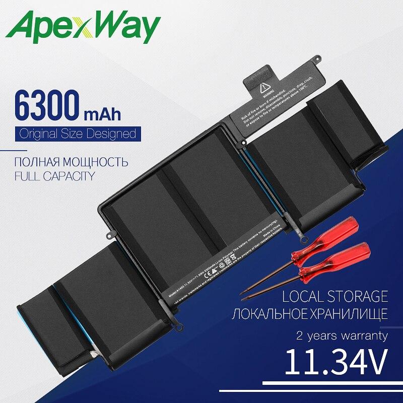 Apexway 11,34 V 6300mAh Новый аккумулятор для ноутбука Apple Macbook Pro Retina13-INCH A1502 (2013 2014 год) A1493 отвертка батарея